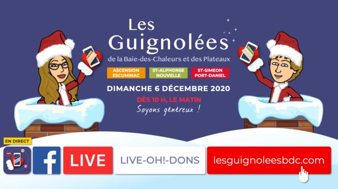 « LIVE-OH!-DONS » Des Guignolées, Dimanche 6 Décembre 2020, Dès 10 H Le Matin !